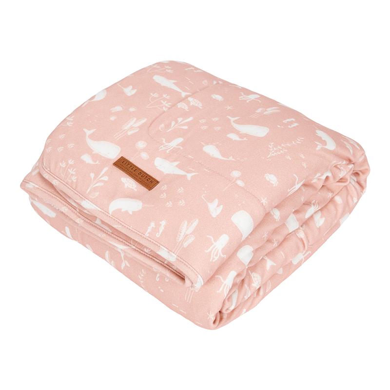Kinderdecke mit Nickistoff Ocean rosa (Gr. 110x140 cm)