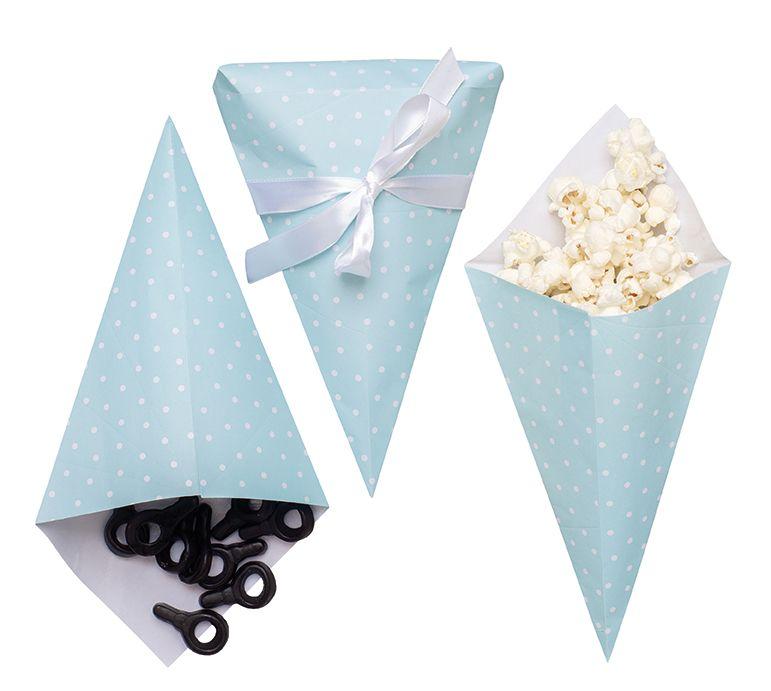 Partytüte Papiertüte für Süßigkeiten hellblau 3er Set