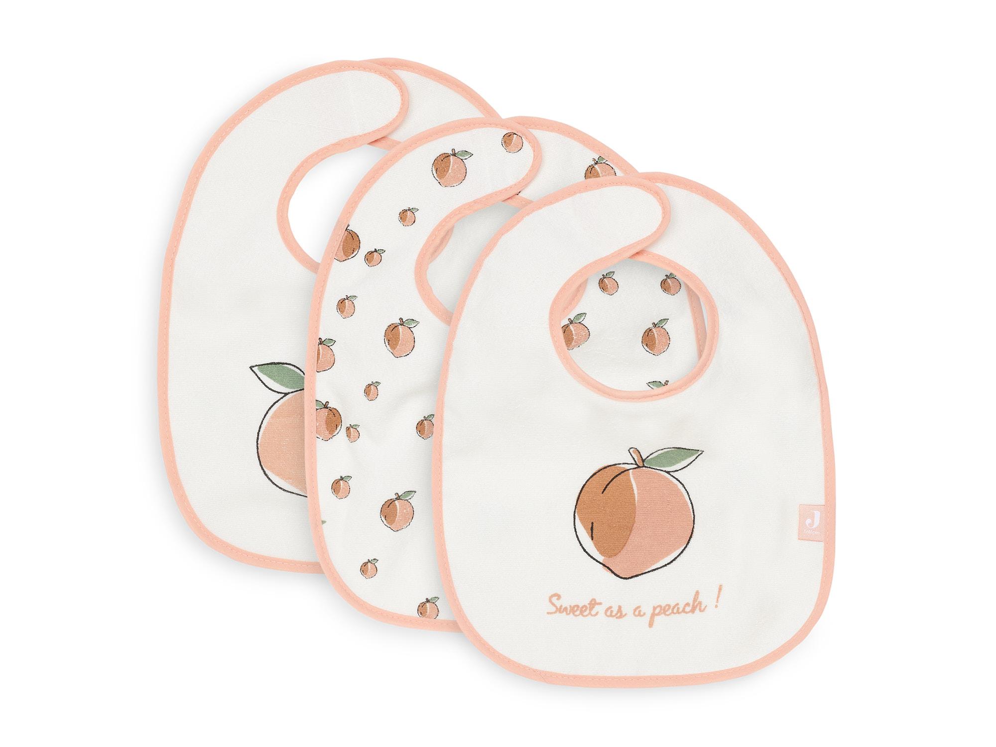 Lätzchen 3er Set Pfirsich weiß
