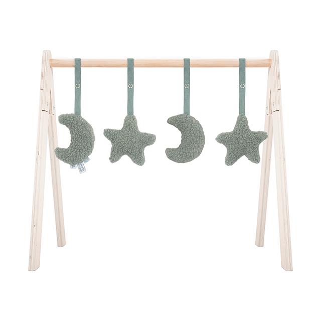 Jollein Anhänger für Spielbogen Baby Gym Mond Sterne Teddyplüsch stonegreen