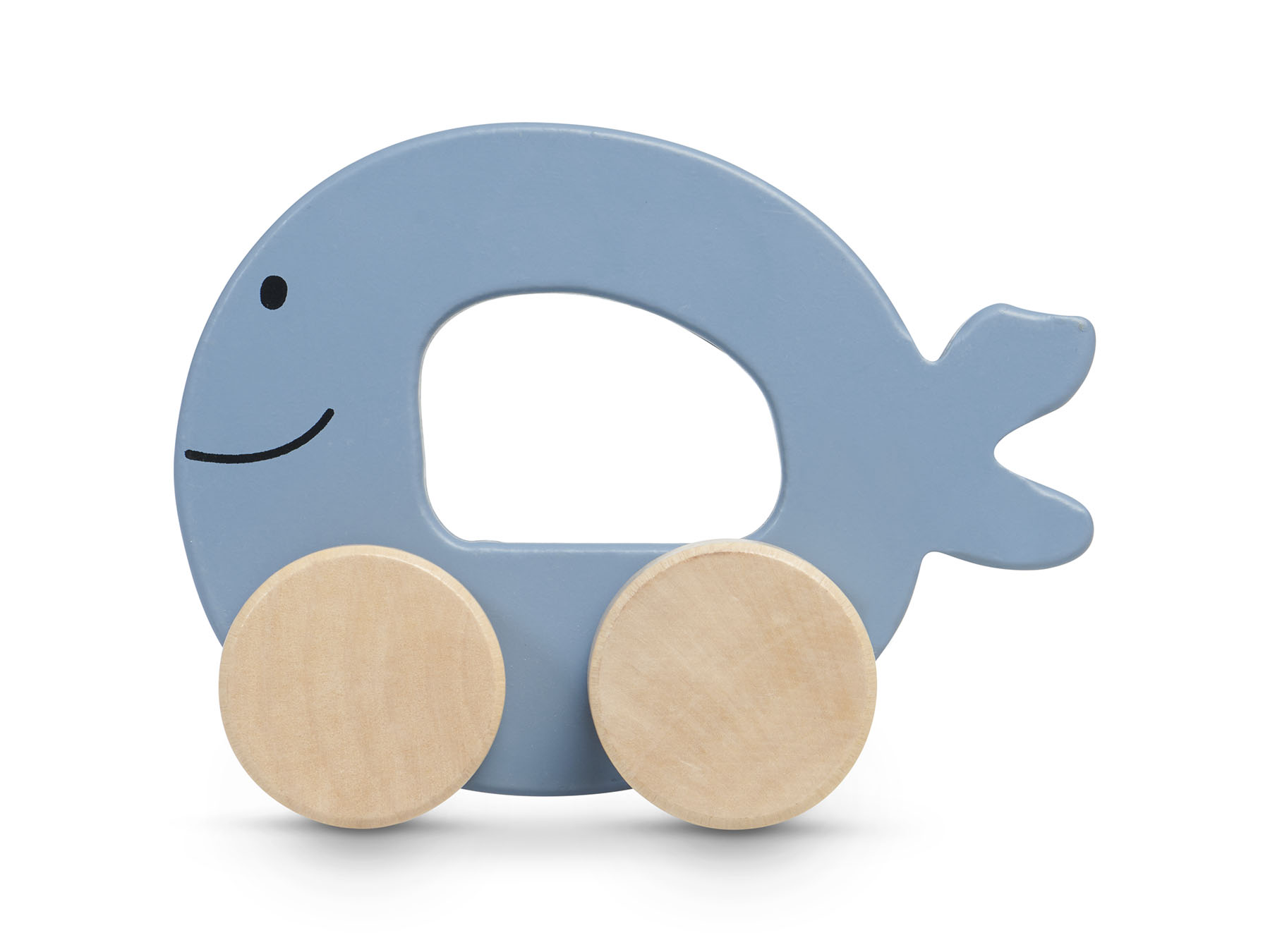 Holz Fisch auf Rädern blau