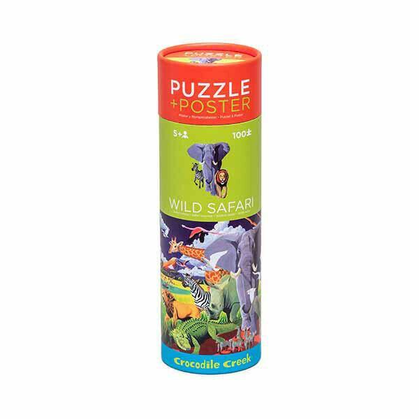 Puzzle + Poster Wilde Safari 100 Teile
