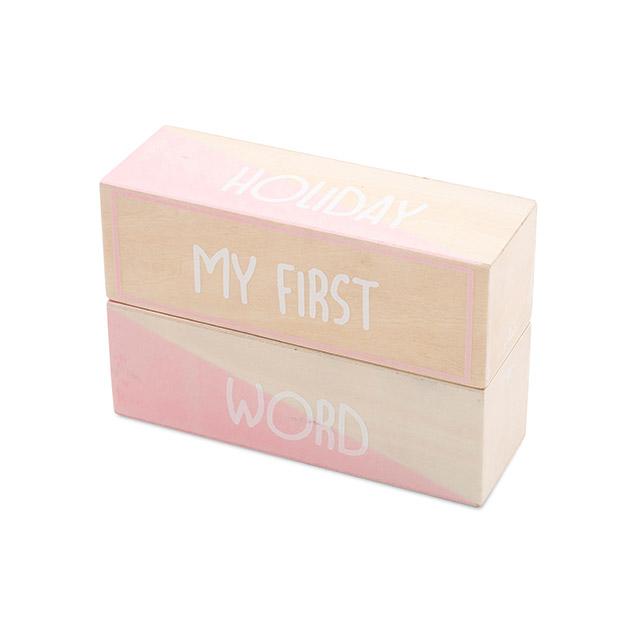 Holz Meilensteinblöcke Baby Meine ersten Momente rosa