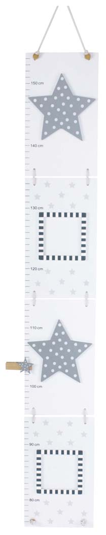 Holz Messlatte mit Bilderrahmen Sterne weiß grau 75-155 cm