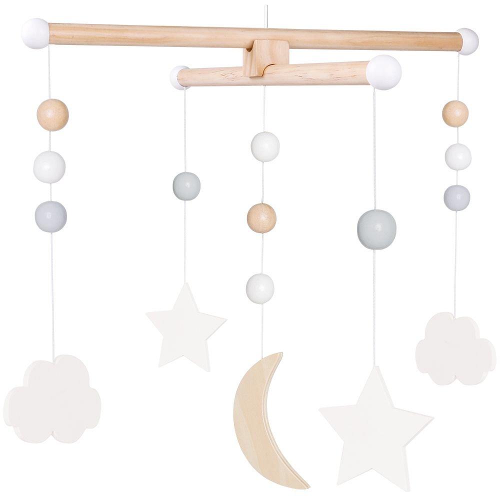 Holz Mobile Sterne Mond Wolken
