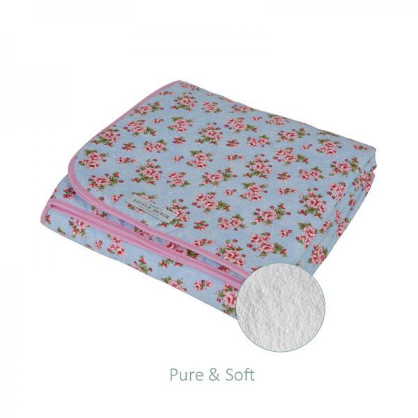 Babydecke mit Teddyfell Pink Roses hellblau 70x100 cm