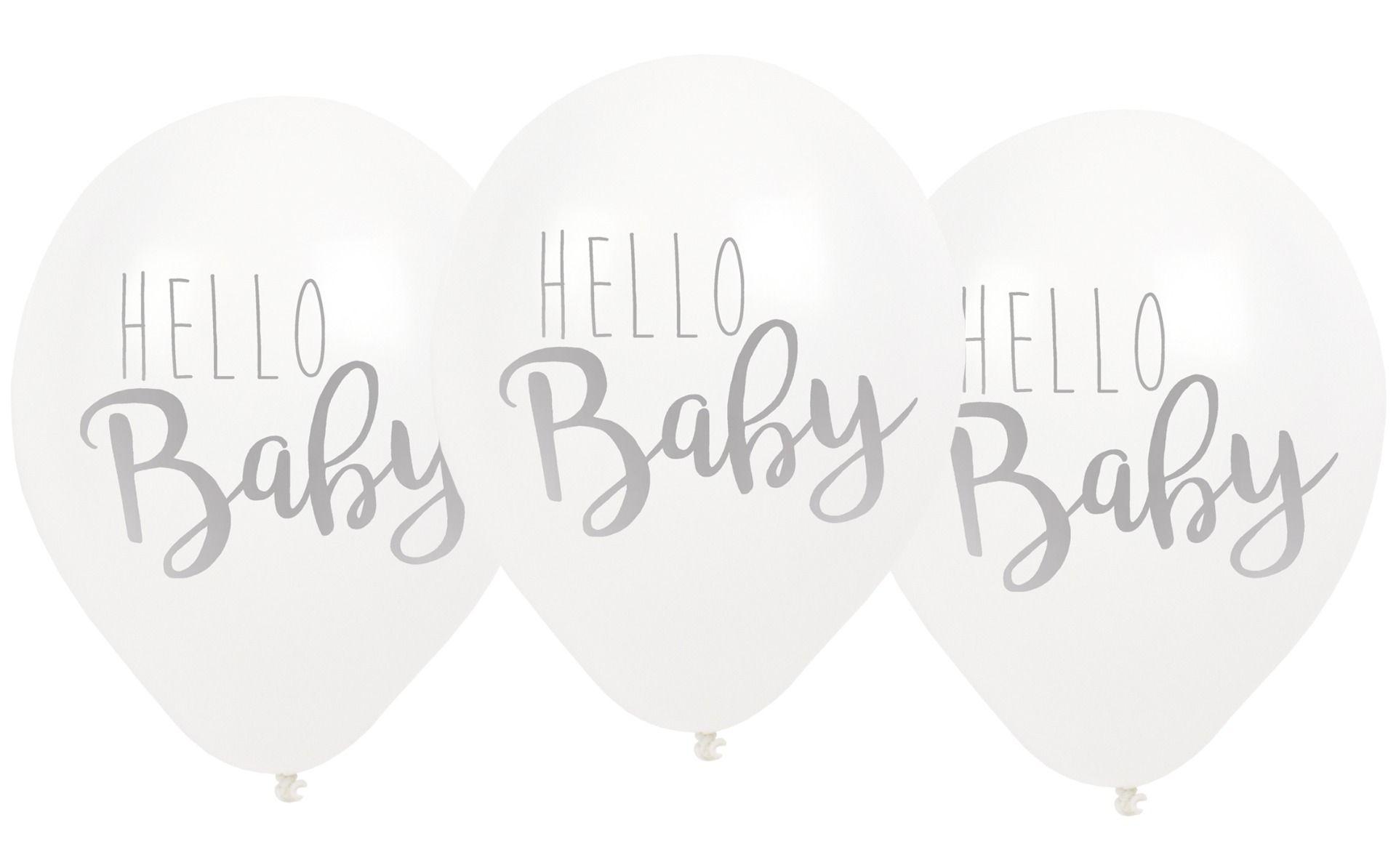Luftballons Hello Baby weiß 3er Set