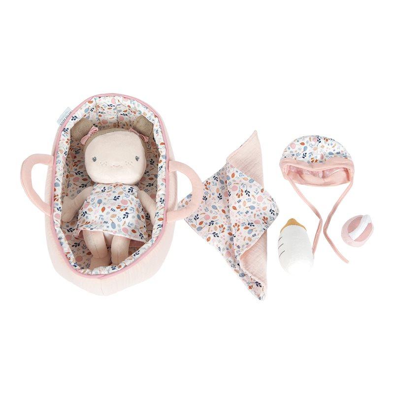 Stoffpuppe Baby mit Tragekorb und Zubehör Rosa