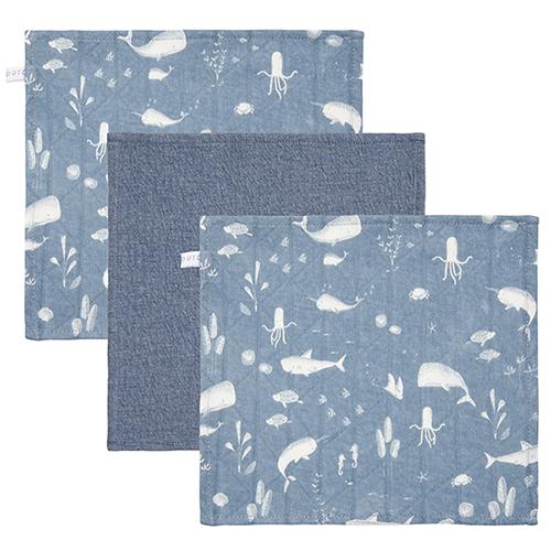 Spucktücher Mundtücher 3er Set Ocean blau (Gr. 26x26 cm)