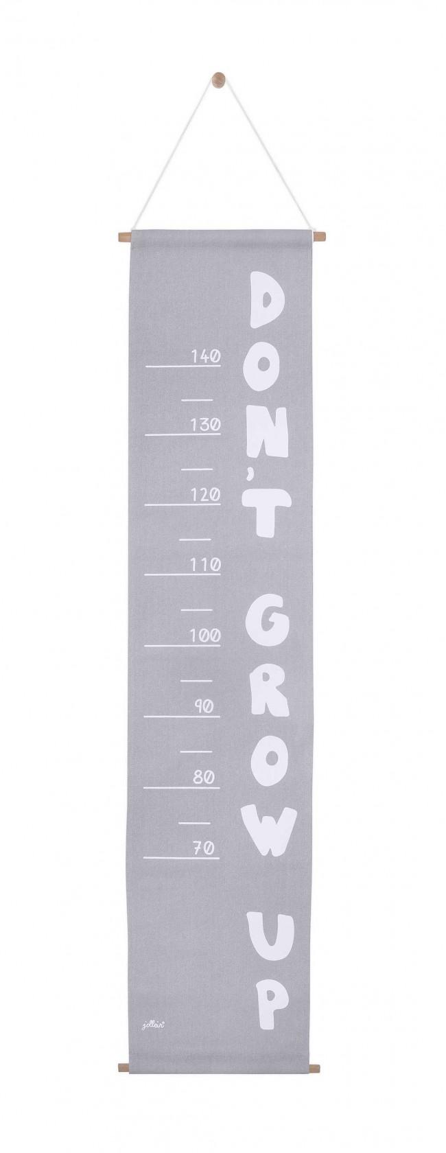 Messlatte Stoff ABC grau 70 - 140 cm