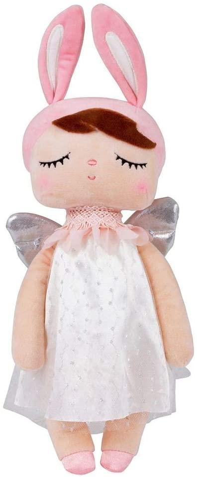 Stoffpuppe Schlummerpuppe Angela Engelchen weiß rosa silber 35 cm