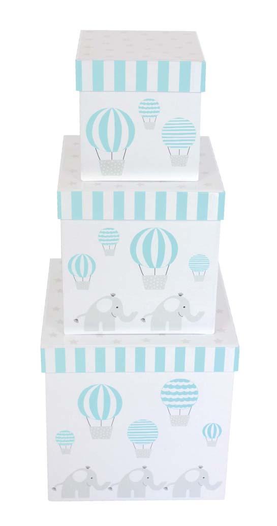 Aufbewahrungsboxen Elefant 3er Set blau