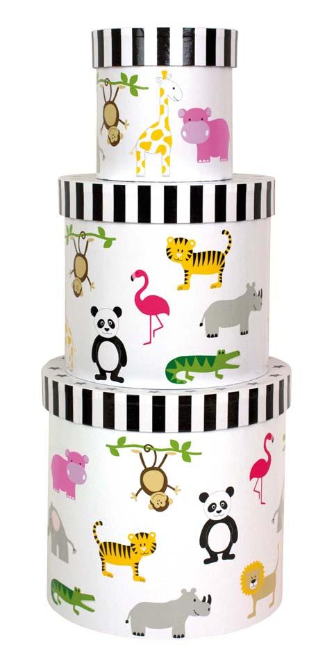 Pappboxen rund Safari 3er Set