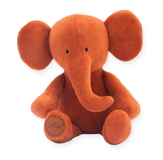 Jollein Stofftier Kuscheltier Elefant Samt rostrot orange