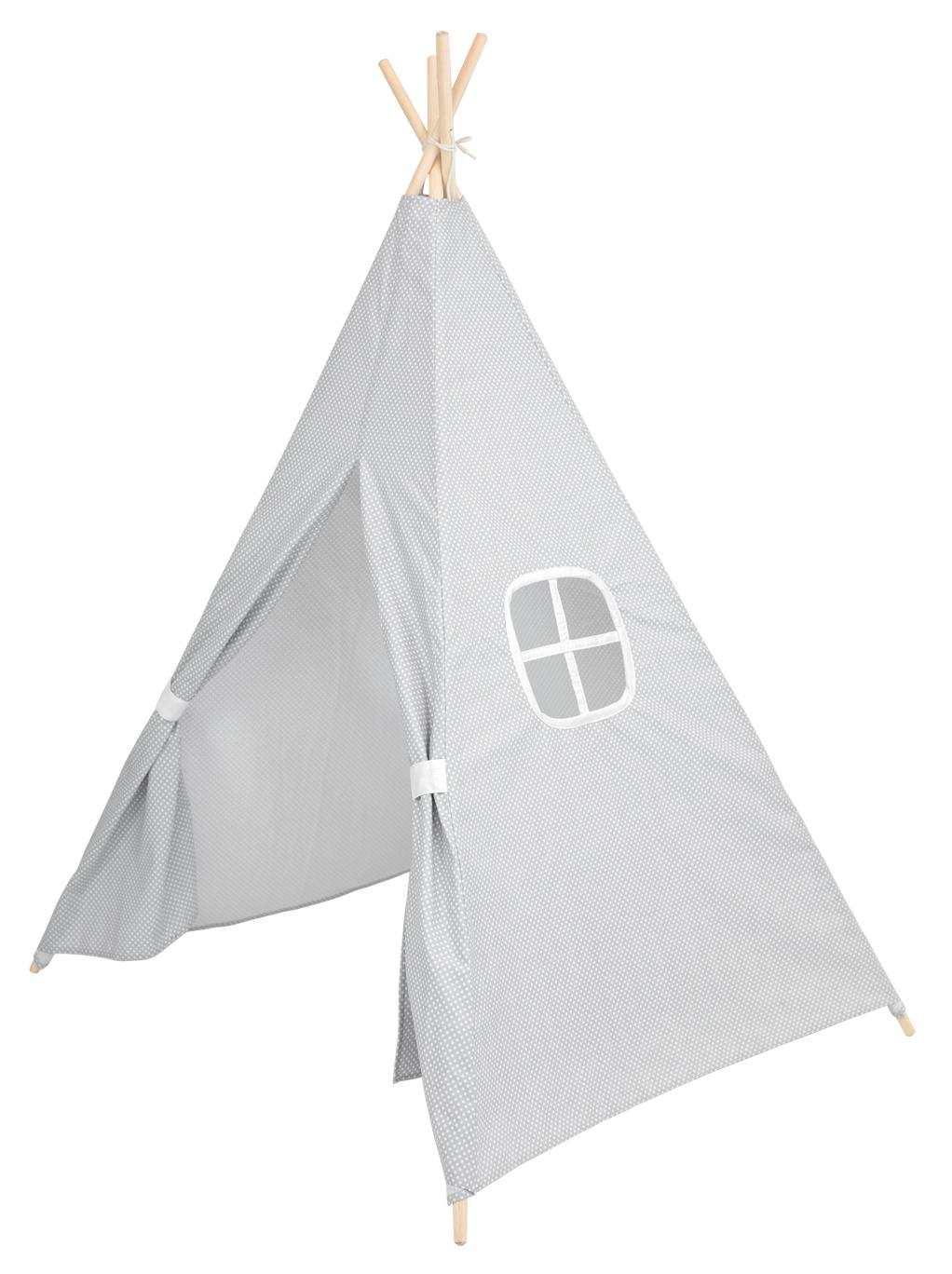 Spielzelt Tipi Zelt aus Stoff grau