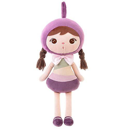 Stoffpuppe Mädchen mit Zöpfen lila rosa mint 45 cm