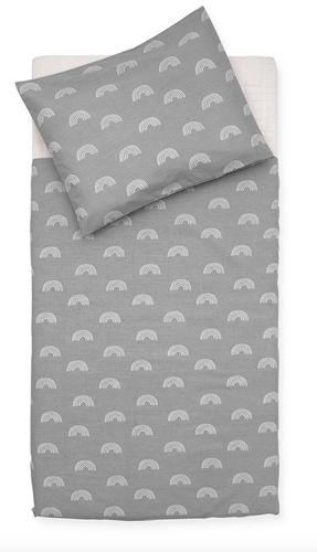 Bettwäsche Bettbezug für Decke und Kopfkissen Regenbogen grau 100x140 cm