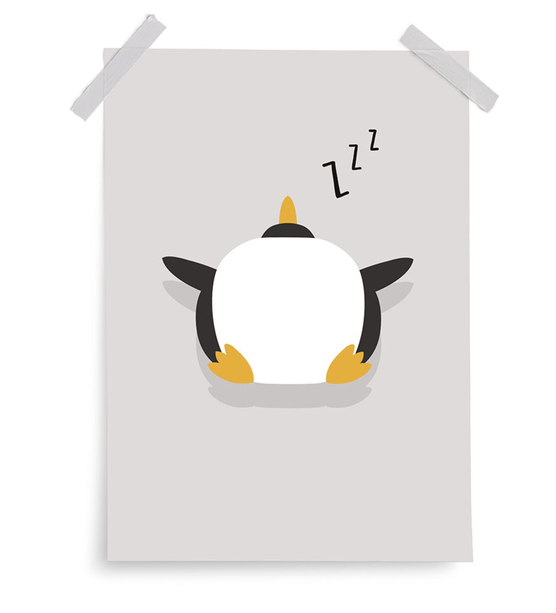 Poster My Planet Pinguin grau 30x40 cm