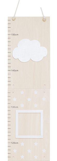 Holz Messlatte mit Bilderrahmen Wolke natur weiß 75-155 cm