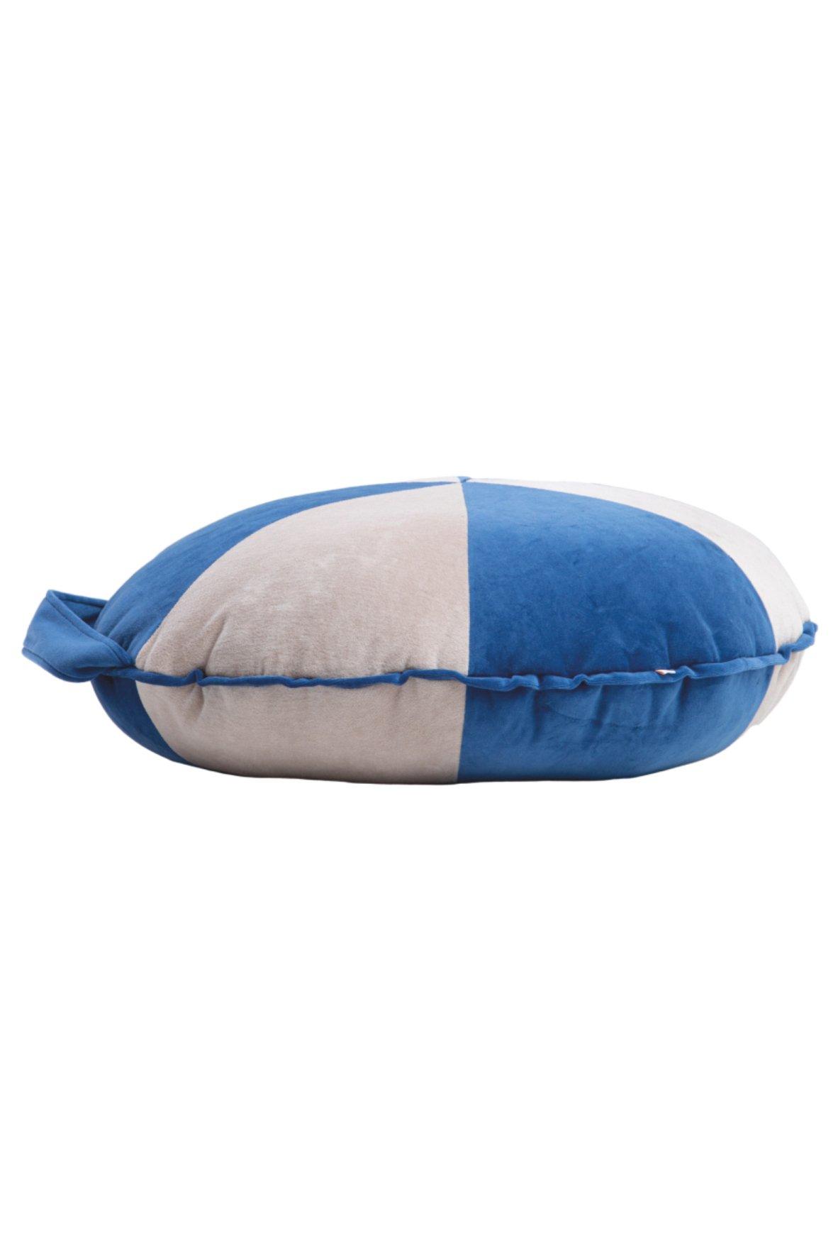 rundes Samt Sitzkissen Cookie blau puderbeige klein Ø62 x 18cm