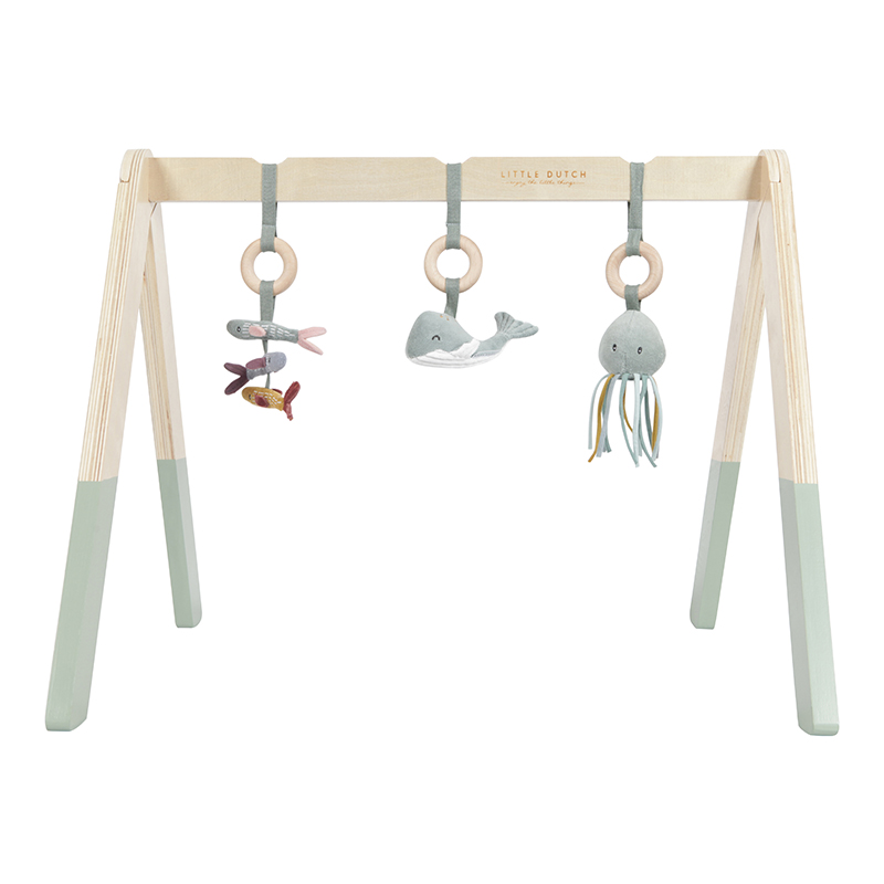 Holz Baby Gym Spieltrapez mit Stoff Anhängern Ocean mint