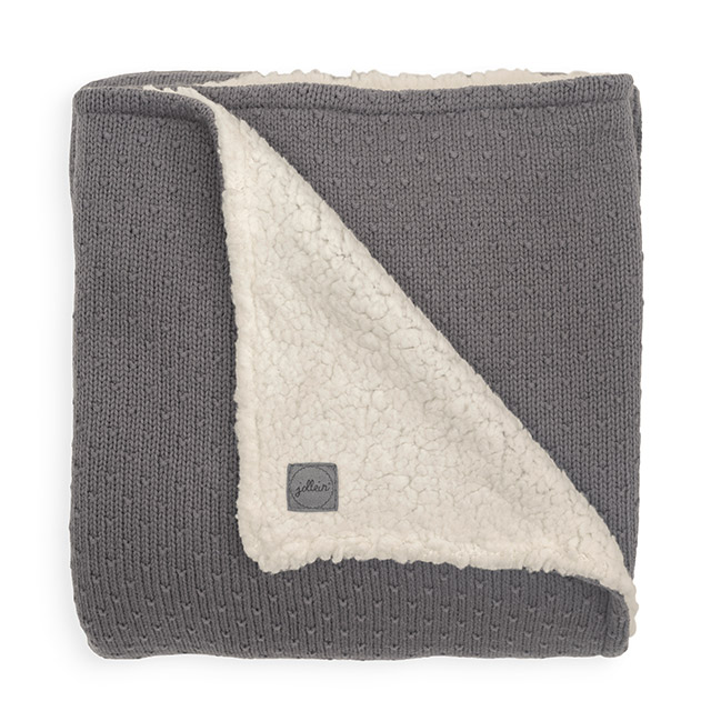 Baby Strickdecke mit Teddyfell Bliss Knit grau (Gr. 75x100 cm)