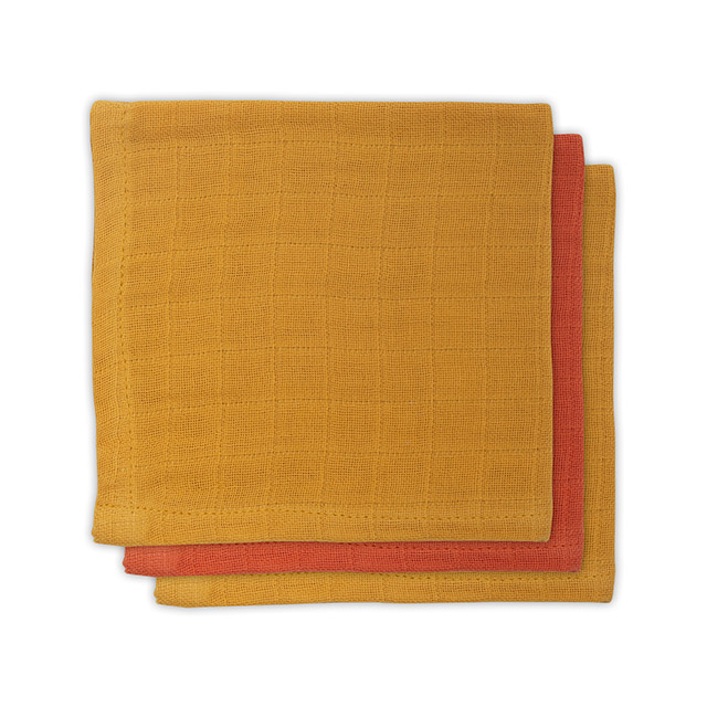 Spucktücher Bambus rostrot senfgelb 3er Pack 31x31cm