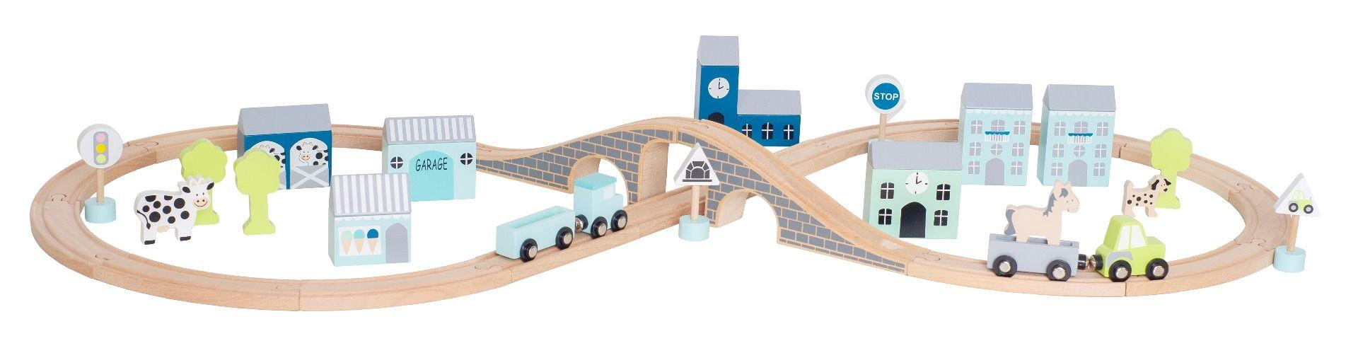 Holz Autobahn Spielset mit Straßen Schienen, Figuren und Tieren in Box blau