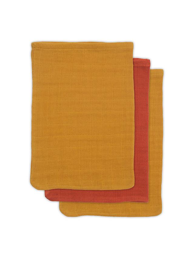 Waschlappen Bambus rostrot senfgelb 3er Set