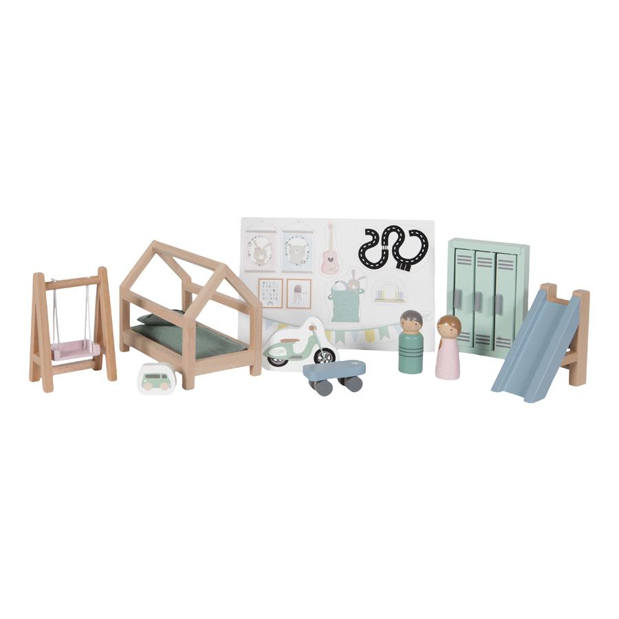 Holz Puppenhaus Zusatz Spielset Kinderzimmer 12-teilig