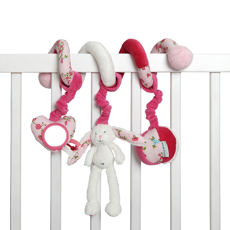 Stoff Activity Spielspirale Hase Pink Roses rosa