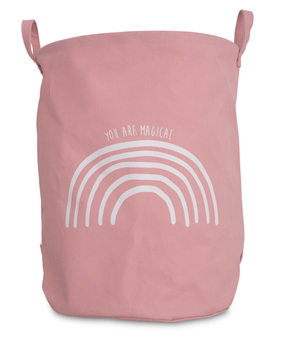 Korb / Kiste / Box zur Aufbewahrung XL Regenbogen Leinen rosa