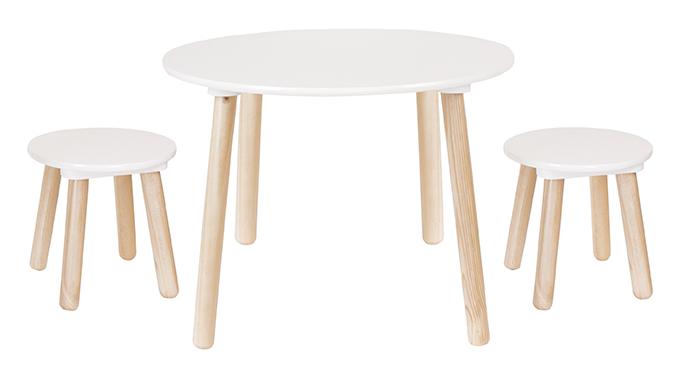 Holz Tisch rund inkl. 2 Hocker natur weiß