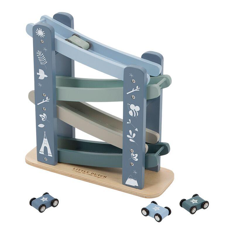Holz Kugelbahn Rennbahn Autos blau