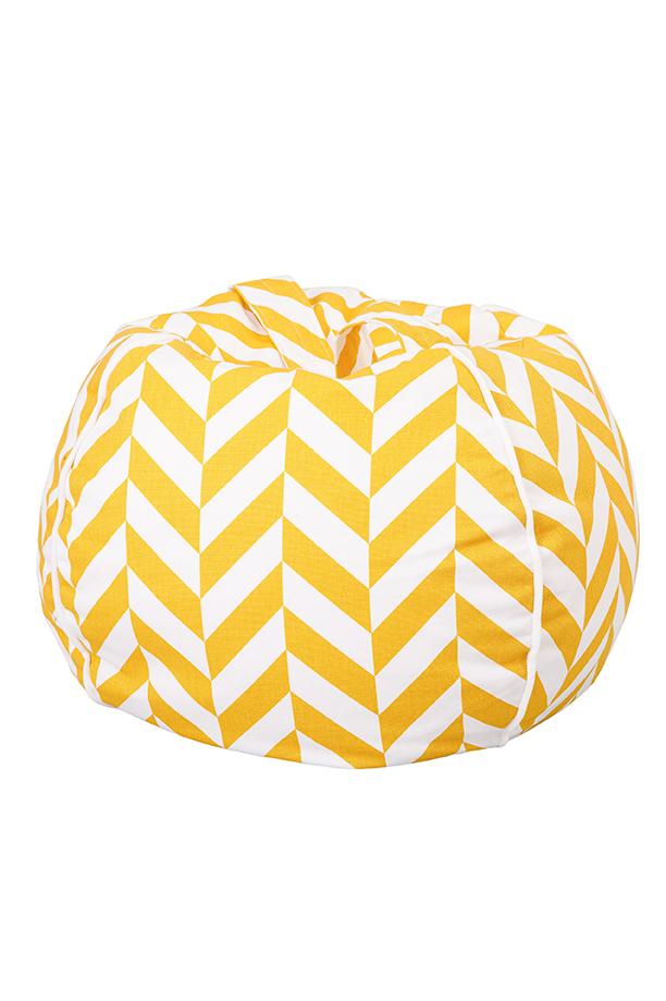 Sitzsack Bubble Zickzack gelb weiß 70x45 cm