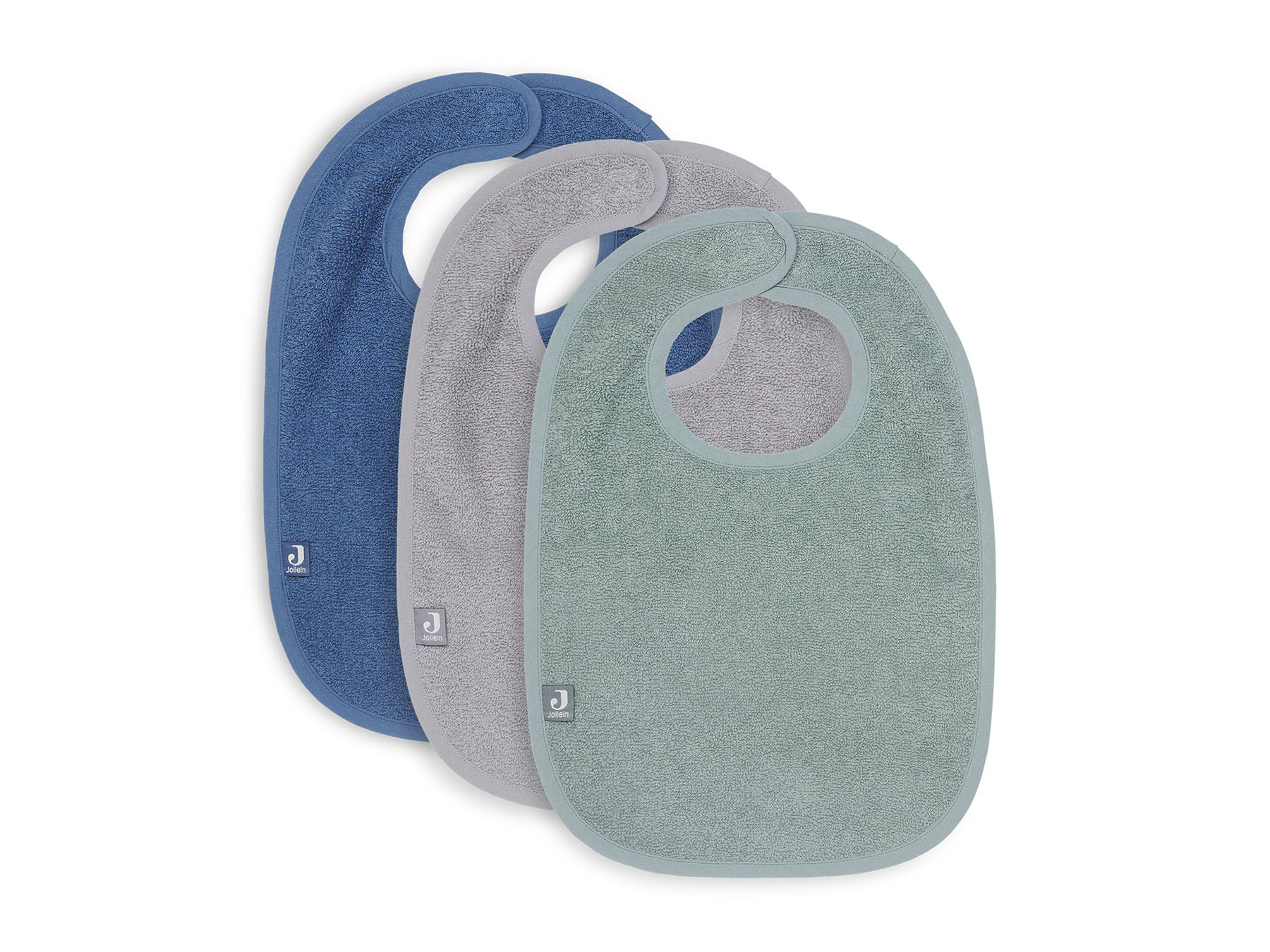 Lätzchen Frottee 3er Set grün grau blau