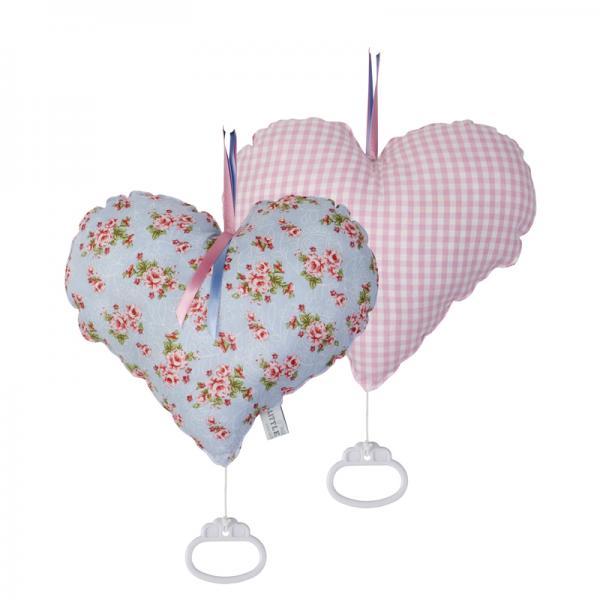 Stoff Spieluhr Herz Pink Roses hellblau
