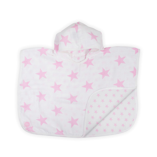 Badeponcho Musselin Sterne rosa