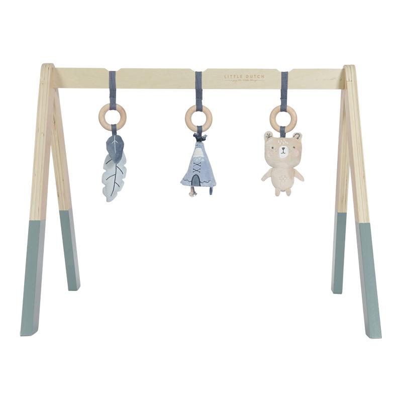 Holz Baby Gym Spieltrapez inkl. Anhänger blau