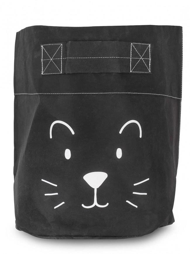 Jollein Korb / Kiste / Box zur Aufbewahrung XL Kleiner Löwe Papier schwarz