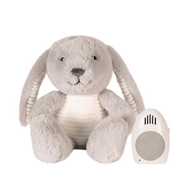 Einschlafhilfe Stofftier Plüschtier mit Comforter Spieluhr Hase Milo grau 21 cm