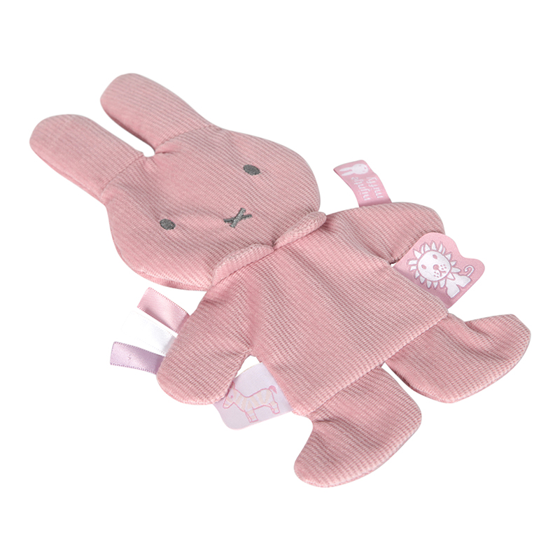 Miffy Hase Cord Knistertuch Kuscheltuch rosa