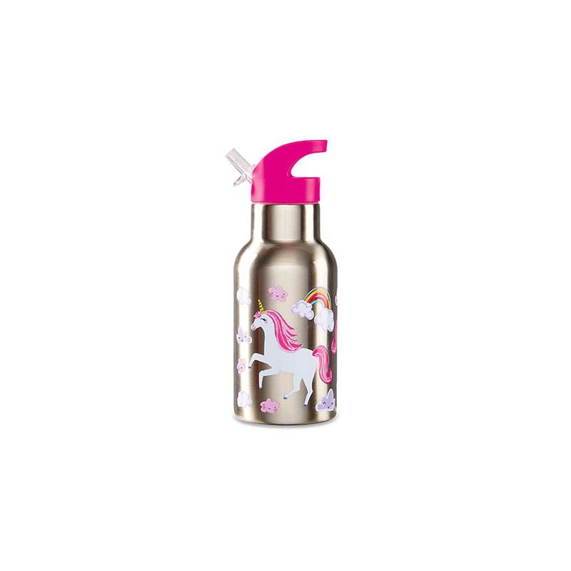 Trinkflasche aus Edelstahl Einhörner pink