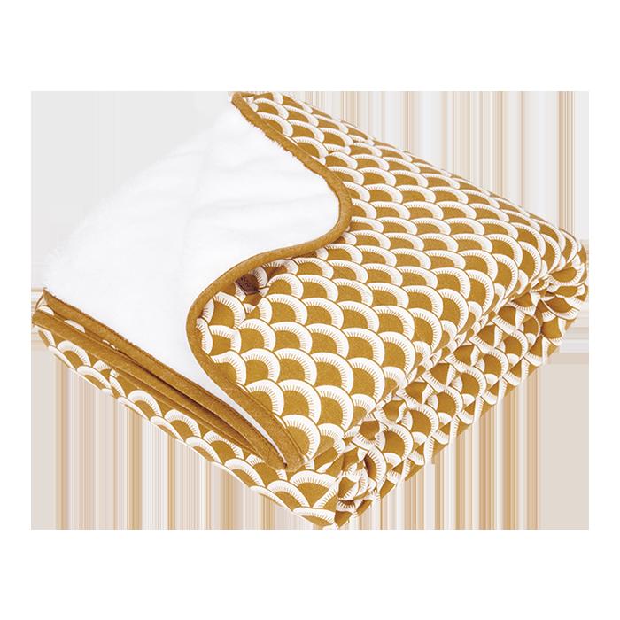 Babydecke mit Nickistoff Sunrise ocker gelb 70x100 cm