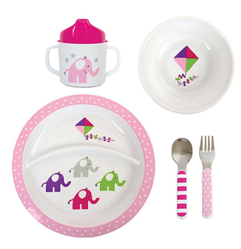 Kindergeschirr Set Elefant rosa