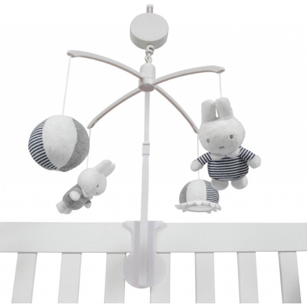 Miffy Hase ABC Musik Mobile gestreift weiß grau