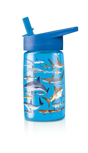Trinkflasche aus Tritan mit Strohhalm Haie blau 425 ml