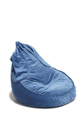 Samt Sitzsack Bunny blau 75x60 cm