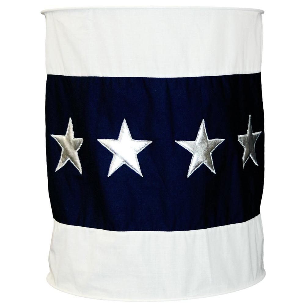Lampenschirm weich blau Sterne silber 30 cm