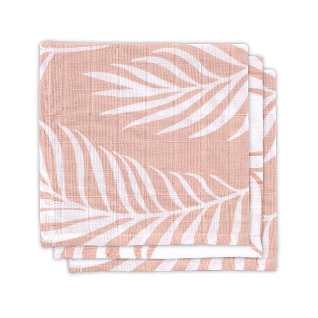 Jollein Spucktücher Musselin Nature Blätter rosa 3er Set